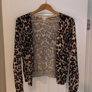 H&M leopard print button-up cardigan